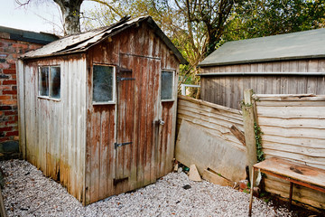 old run down worn out rotting garden shed