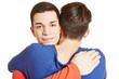 Schwuler Teenager umarmt seinen Partner