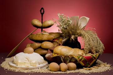 Bread food with dough,cereals, butter, eggs, spoon, jar and grai