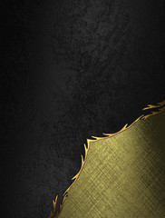 Black background with an abstract gold angle with finish
