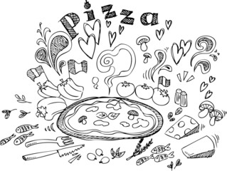 Digital illustration of pizza and ingredients