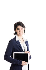 Young Businesswoman with tablet isolated on white background