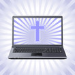 cross on the laptop screen