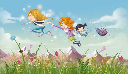 niñas volando en un prado