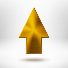 Up Arrow Sign with Gold Metal Texture