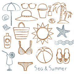 Hand drawn sea symbols set 1