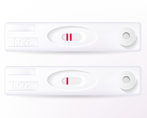 Vector positive and negative pregnancy tests isolated on white.