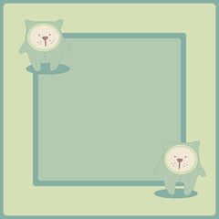 Cute vector background. Frame with kitty.