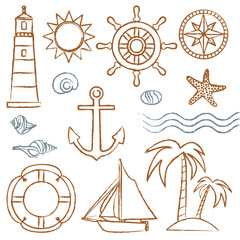 Hand drawn sea symbols set 2