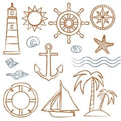 Hand drawn sea symbols set 2