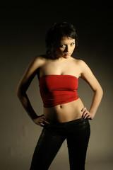 Portrait of attractive beautiful stylish girl in the studio