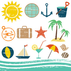 Scratched summer and sea related icons 1