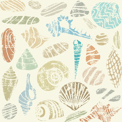 Sea shells and rocks seamless pattern on beige background