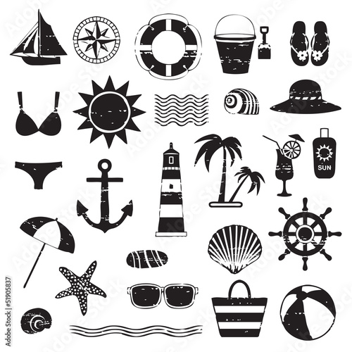 Scratched sea symbols set