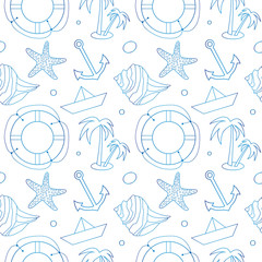 Summer holidays related seamless pattern 1
