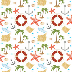 Summer holidays related seamless pattern 2