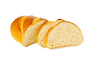 The cut bread on the white isolated background