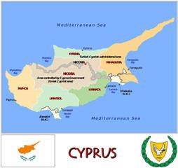 Cyprus Europe emblem map symbol administrative divisions