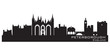 Peterborough England city skyline Detailed silhouette