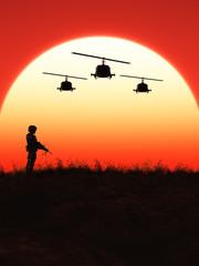 Soldat im Sonnenuntergang