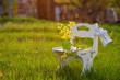 White wooden chair with flowers in the sunset light