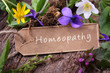 Homeopathy - Flowering medicinal herbs and label