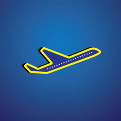 Vector graphic- airliner or plane icon or symbol in yellow & blu
