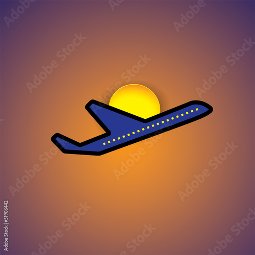 Vector graphic- airliner or plane icon flying in evening sky