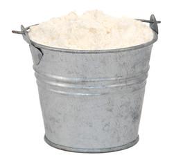 Plain / all purpose flour in a miniature metal bucket