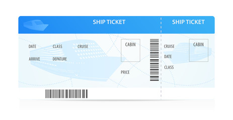 Vector Ship ticket template (layout) with silhouette. Cruise