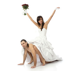 Girl bride in a white dress goes on naked man