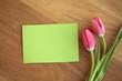 Tulpen mit Zettel