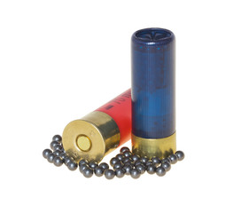 Hunting cartridges for shotgun on a white background