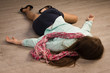 Crime scene simulation. Victim lying on the floor