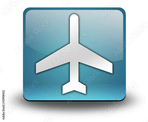 """Light Blue 3D Effect Icon """"Airport / Airplane"""""""