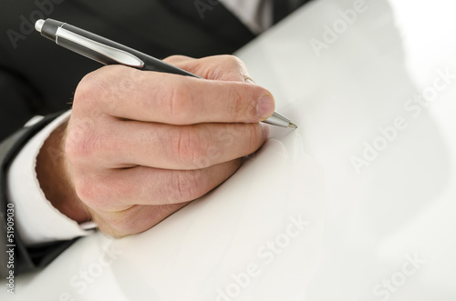 Signing on a white background