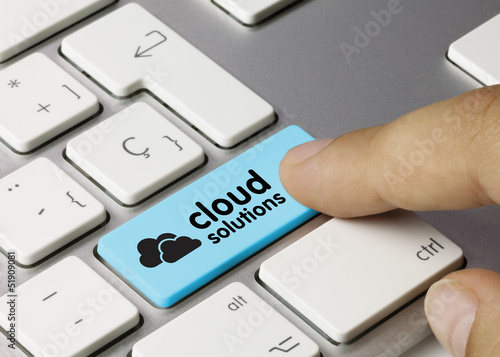 Cloud solutions keyboard key finger