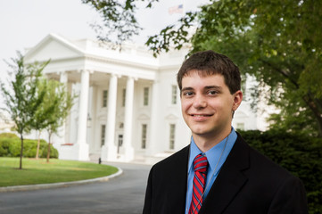 Teenage boy visiting the White House in Washington DC