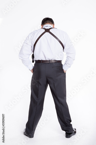 the man with holster isolated on white background