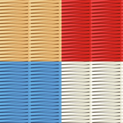 Wicker weave patterns: natural, red, blue and white