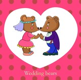 Wedding bears vector illustration
