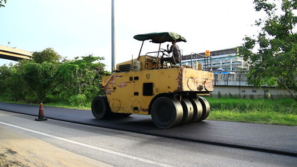 Steamroller , Construction road