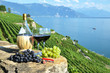 Quadro Red wine and grapes. Lavaux region, Switzerland