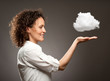 woman holding a cloud