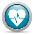 cardiogram blue circle web glossy icon