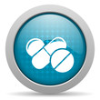 pills blue circle web glossy icon