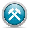 mining blue circle web glossy icon