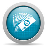 money blue circle web glossy icon