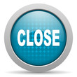 close blue circle web glossy icon
