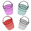Metal bucket. Illustration.